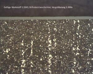 Gefüge Werkstoff 1.3343, B-Protect beschichtet, Vergößerung 1000x